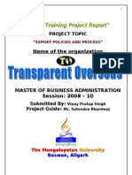 Transparent Overseas Project File on Export Policies and Process