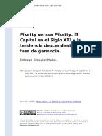 Esteban Ezequiel Maito (2014). Piketty versus Piketty. El Capital en el Siglo XXI y la tendencia descendente de la tasa de ganancia