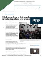 Mindefensa da parte de tranquilidad tras jornadas de protesta este lunes en Colombia