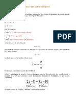 Equações do 1º grau com uma variável