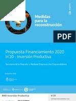 In'20 BNA - Inversion Productiva - Industria - PyME Manufacturera