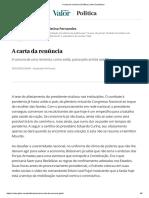 A carta da renúncia _ Política _ Valor Econômico_2020_0326