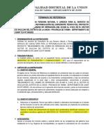 TDR CAMINO DE HERRADURA SHULCAN LA UNION