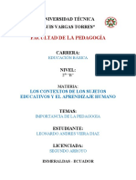 IMPORTANCIA DE LA PEDAGOGIA