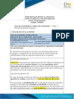 Guía de Actividades y Rúbrica de Evaluación - Tarea 2 Elementos básicos Lenguaje C