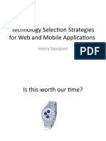 Technology Choosing Strategies for Web and Mobile Applications