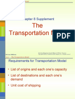Chap 8s the Transportation Model