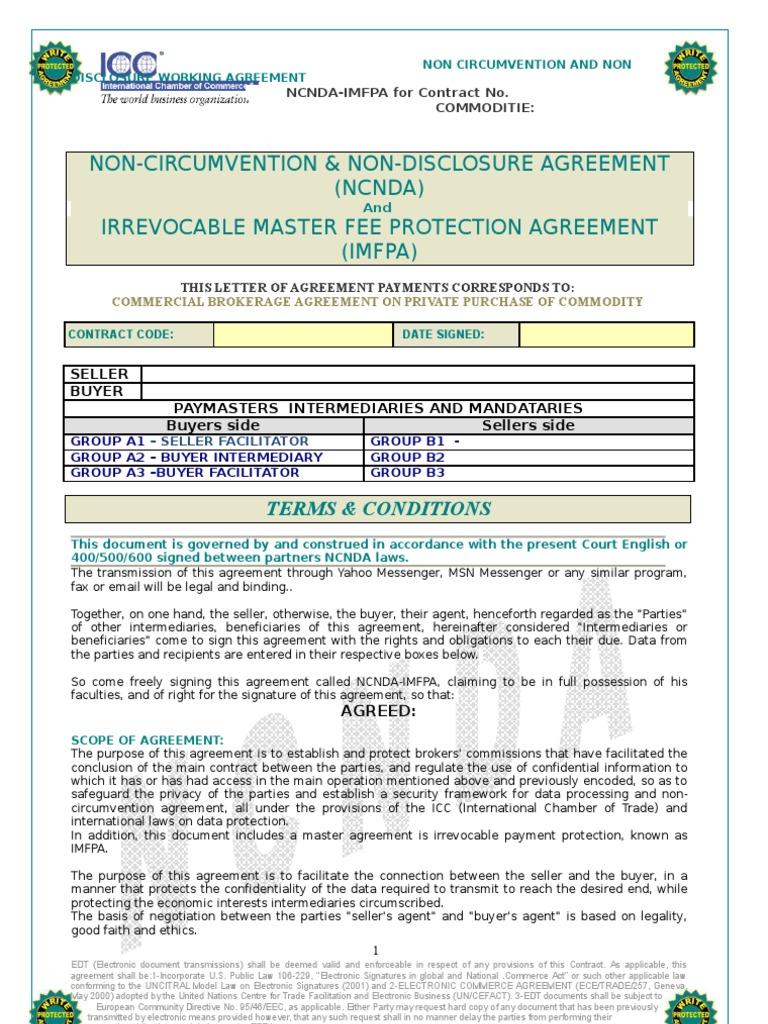 Ncnda Imfpa Oil Non Disclosure Agreement Payments