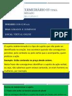 UNMSM INTERMEDIO 2 -SUJEITO INDETERMINADO