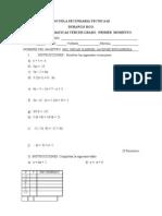Examen Matematicas 3er grado I momento