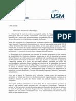Lettre Ouverte au Président de la République de l'USM et du SM