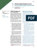 Relevé épidémiologique hebdomadaire  COVID 19