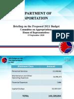 DOTr CY 2021 BUDGET BRIEFING PRESENTATION