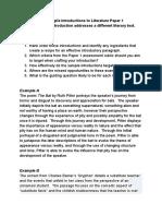 introductions - lit paper 1