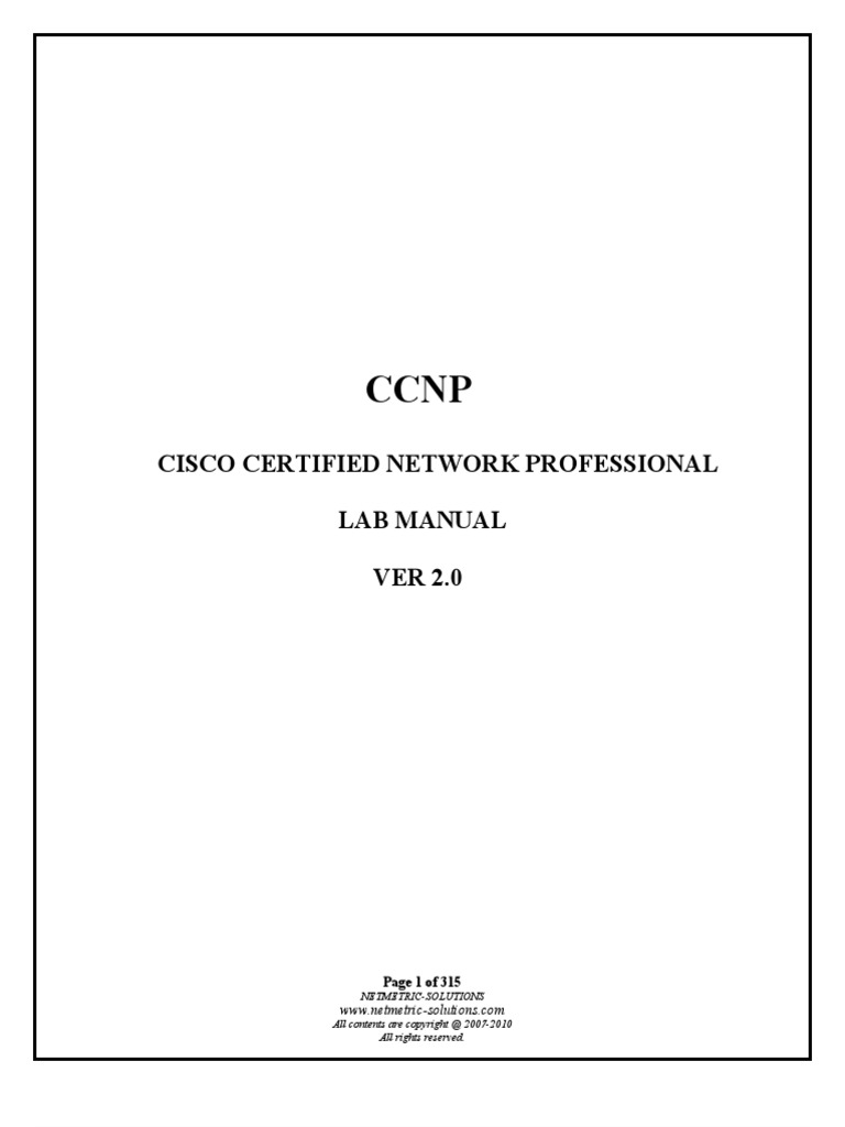 {Full}Lab Manual Ccnp | Ip Address | Router (Computing)