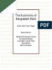 The Autonomy of Bangladesh Bank - ECO 432 Term Paper