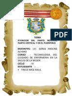 ATENCION DEL PARTO NORMAL, PARTO VERTICAL Y EN EL PUERPERIO