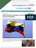 Missão da ONU vincula governo da Venezuela a crimes contra a humanidade _ Mundo_ Diario de Pernambuco