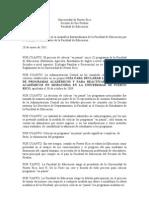 Resolución presentada en Asamblea Extraordinaria Facultad de Educación 28 de enero de 2011