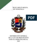 Distribucion General del Presupuesto Ley 2003