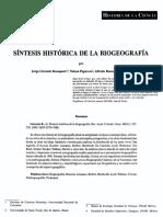 Síntesis histórica de la biogeografía