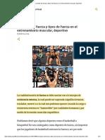 Concepto ddeporte e fuerza y tipos de fuerza en el entrenamiento muscular, deportivo