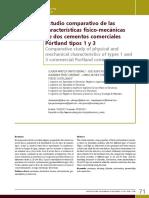 Estudio comparativo de las características físico-mecánicas de dos cementos comerciales Pórtland tipos 1 y 3