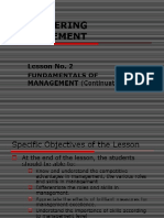 Lesson No. 2 - Fundamentals of Management (continuation)