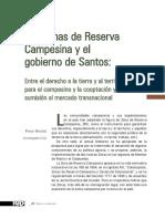 Las Zonas de Reserva Campesina y el gobierno de Santos