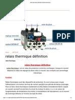 Relais Thermique Définition _ Electromecanique