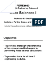 PowerPoint Slides of Mass Balances Section of PEME_1030 Lectures MG