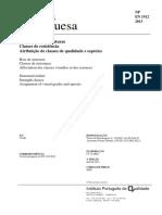 Madeira para estruturas_classes de resistência_atribuição de classes de qualidade e espécies_NP EN 1912_2013