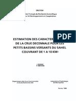 Estimation de crue decennale Region Sahel ORSTOM