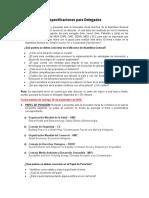 Especificaciones para delegados