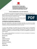 TIPOS DE COMUNICACION Y SUS CARACTERISTICAS. IS. 2020B