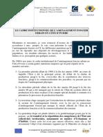 LE CADRE INSTITUTIONNEL DE L'AMENAGEMENT FONCIER EN CÔTE D'IVOIRE