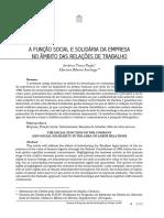 A FUNÇÃO SOCIAL E SOLIDÁRIA DA EMPRESANO ÂMBITO DAS RELAÇÕES DE TRABALHO