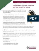 The Boston College Center for Corporate Citizenship announces Third Annual Film Festival
