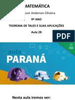 AULA 28 - 9º ANO AULA PARANÁ