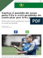 Santos é punido de novo pela Fifa e está proibido de contratar por três janelas
