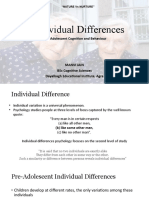 Individual Differences in Adolescent Behaviour and Cognition