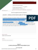 Leçon 5 - Régulation bancaire et financ...cière, Semestre de printemps 2014 mafr