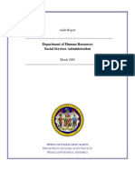 Audit Report, DHR, Social Services Administration, Maryland, March 2005.