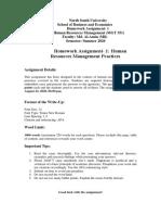 MGT 351 Homework Assignment 1- Summer 2020