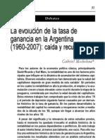 Michelena, Gabriel – La evolución de la tasa de ganancia en Argentina 1960-2007. Caída y recuperación