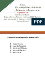 Gobiernos militares y el retorno a la democracia.