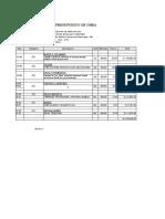 Presupuesto de Valores Unitarios511151511551