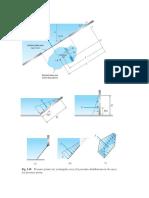 Determinar la fuerza F y su ubicación así como la magnitud de la fuerza P para mantener la compuerta triangular en la siguiente posición