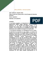 BELLUSCIO, AGUSTO CESAR EL JUICIO POR JURADO ANTE LA CORTE EUROPEA DE DERECHOS HUMANOS J.A 2011-II pag 707