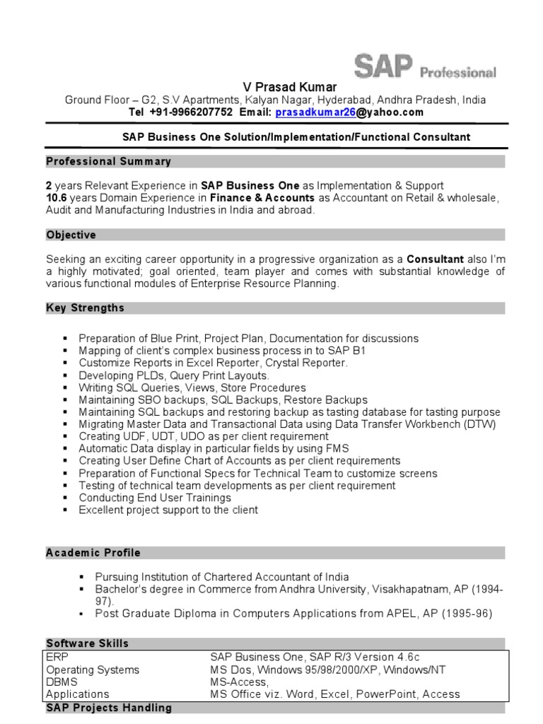 Prasad Cv Sap b1 Functional Consultant | Sap Se | Enterprise ...